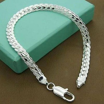 Fashion 925 Silver Plated Jewelry Men Women Bracelet Bangle Jewlery Party Gift