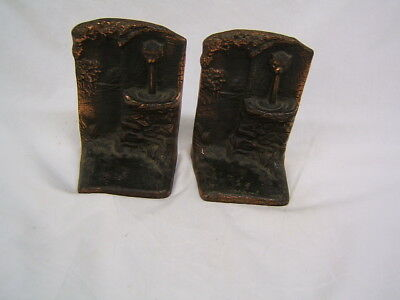 Vintage Pair of Judd Co Bronze Lion's Head Fountain Bookends VGC