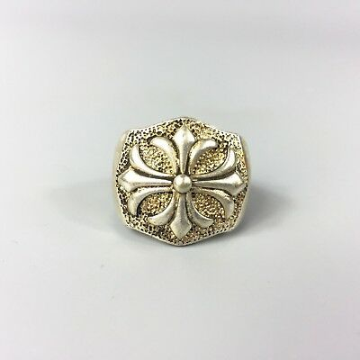 Antique Chinese Rare Collectible Old Tibet Silver Handwork Cross No.11 Ring