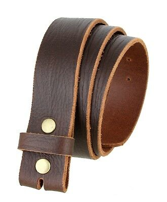 """Casual Belt Strap 100% Full Grain Leather With Brass Snaps 1 1/2"""" Wide Brown"""