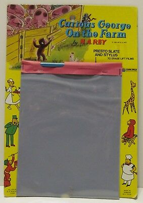 Vintage Curious George On the Farm Presto Slate w/Stylus in Great Condition
