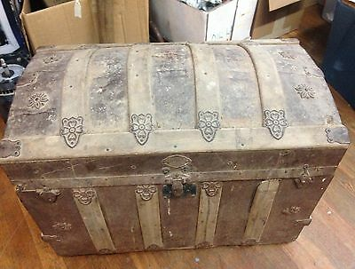 FJ Palica Co Vintage 1800s Dome Steamer Trunk Antique Chest 1926 Paper included
