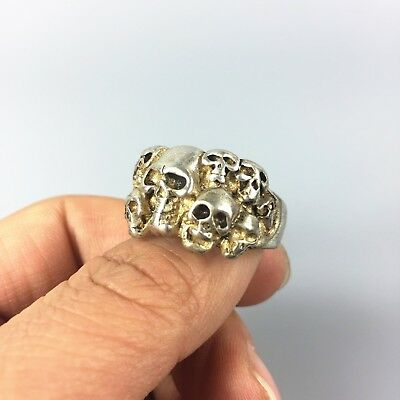 Chinese Collectible Rare Tibet Silver Handwork Skull heap No.11.5 amulet Ring