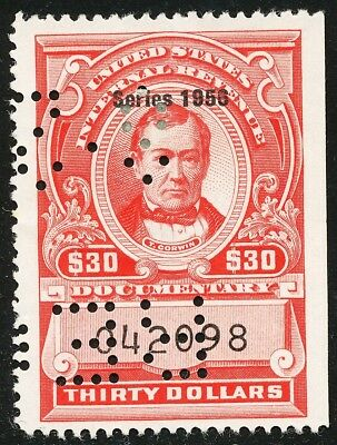 Dr Jim Stamps Us Scott R697 $30 Documentary S1956 Used Punched No Reserve