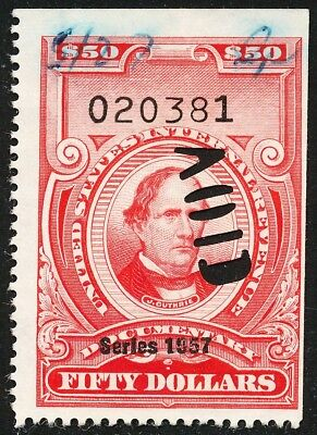 Dr Jim Stamps Us Scott R707 $50 Documentary S1957 Punched No Reserve