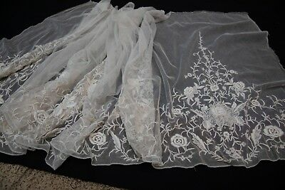 """Fabulous Piece of French Net Lace Embroidered 8' x 24"""" Victorian"""