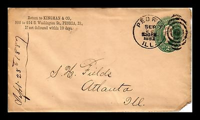 Dr Jim Stamps Us Peoria Illinois Embossed Cover Fancy Target Cancel 1882