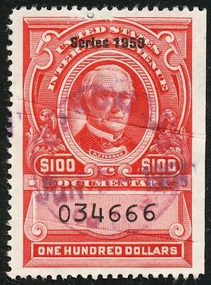 Dr Jim Stamps Us Scott R558 $100 Documentary S1950 Used Cut Cancel No Reserve