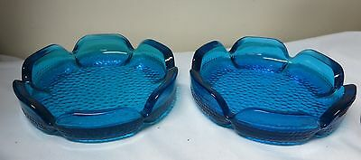 """Pair Of Blue Glass Vintage Ashtrays Or Dish 5 3/4"""" Across"""