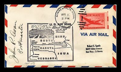 Dr Jim Stamps Us Minneapolis Am 35 First Flight Air Mail Cover Pierre Backstamp
