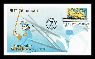 Dr Jim Stamps Us Surrender At Yorktown Colonial Cachet Fdc Cover Virginia