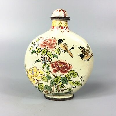 Antique Chinese Collectible Old Cloisonne Handwork Birds & flowers Snuff Bottle