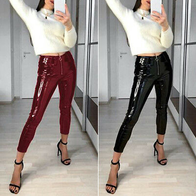 Sexy Frauen Leggings Wet Look Lack Leder Glanz Stretch-dünne Schwarz Zipper S-XL
