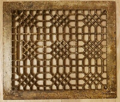 Antique Cast Iron Heat Grate Floor Vent Register Cover 10x12 12x14 Victorian Old