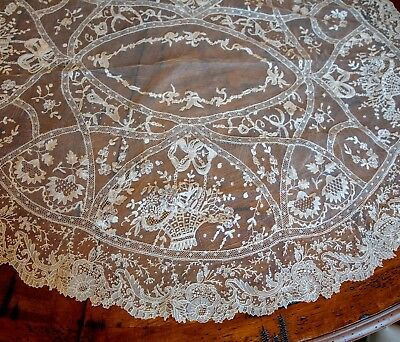 "Fabulous French Normandy Lace 36"" Centerpiece Doily with Brussels Duchesse Lace"