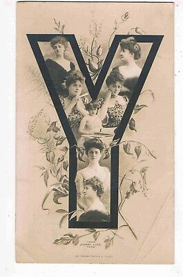 """Novelty - R/p - A Letter Of The Alphabet """"y"""" Made Up Of Edwardian Beauties,1904"""