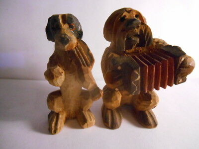 VINTAGE 2 Wooden Wood Carved STANDING VIOLIN BEAGLE ACCORDIAN SCHNAUZER Dogs