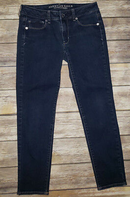 Womens AMERICAN EAGLE Skinny Stretch Low Rise Dark Wash Jeans Sz.4 Short