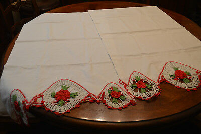 """Vintage White Pillow Cases With Red Green Hand Crochet Roses Lg 37 X 20 1/2"""""""