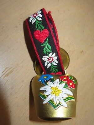 """Small Alpine Cowbell on Folk Art Embroidered Ribbon w Heart Buckle 4.25"""" long"""