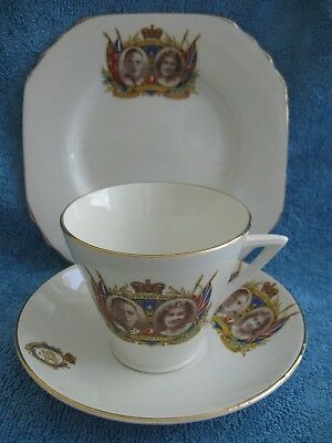 vintage 1937 KING GEORGE VI Coronation TRIO cup, saucer & side plate