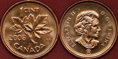 Brilliant Uncirculated 2008 Canada 1 Cent From Mint's Roll