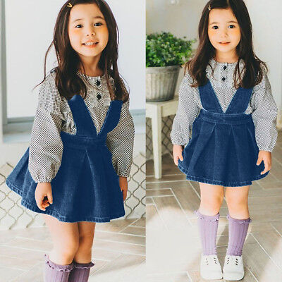 97ad93b7c108 1PC Toddler Girls Baby Kids Sleeveless Casual Strap Dress Denim Overalls  Clothes