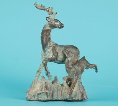 Old Bronze Cast Mother And Son Deer Statue Handmade Decoration