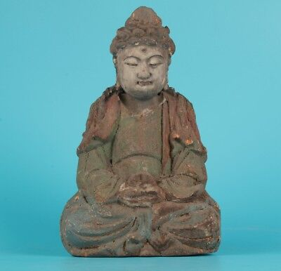 Chinese Old Wood Hand Carved Buddha Kwan-Yin Statue Collectable Ornament
