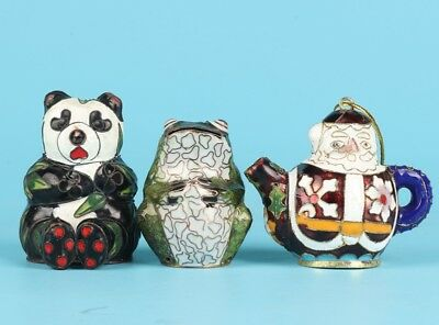 3 Cloisonne Enamel Statue Pendant China Hand-Made Panda Frog Teapot Decoration