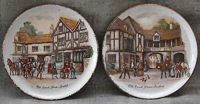 "Enamel on Copper Vintage Pair of 3"" Pin Dishes - Coaching Scenes"