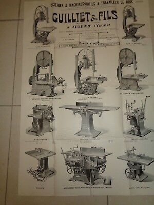 AFFICHE ANCIENNE SCIES MACHINE OUTILS , GUILLIET 58x86 cm (ref 64
