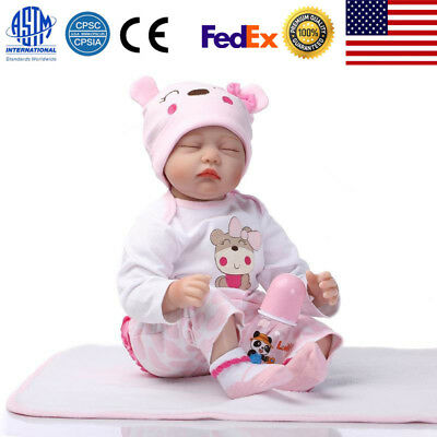 """22"""" Mini Cute Simulation Baby Toy in Hippo Pattern Clothes Homemade Pink US"""