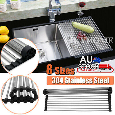 Stainless Steel Sink Kitchen Dish Drainer Foldable Drying Rack Roll-Up RackOver