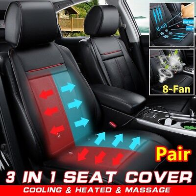 Pair Car Front Cooling Heated Pad Cover Massage Chair Cushion Universal 3 In 1