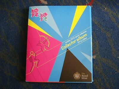 2012 LONDON OLYMPIC GAMES 50p SPORTS COLLECTION + COMPLETER MEDALLION + ALBUM