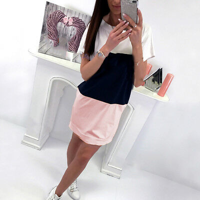 Simple Women Summer Casual Patchwork Striped Short Sleeve Colorblock Dress CB