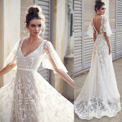 Sexy Women V Neck Short Sleeve Lace Vintage Wedding Gown Evening Party Dress