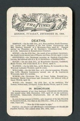 "Card,""The Times ""London,Tuesday,December 29,1908.Deaths & In Memoriam."