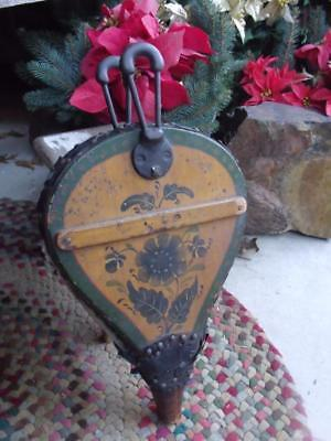 Early Primitive Antique Folk Art Painted Fireplace Bellows Wood Iron & Leather