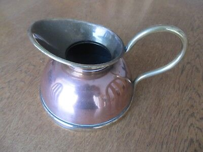Vintage Copper And Brass Jug Pitcher Planter Pot With Spout And Handle.