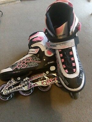 Inline Roller Skates, adjustable size 4-7, great condition, pink white and black