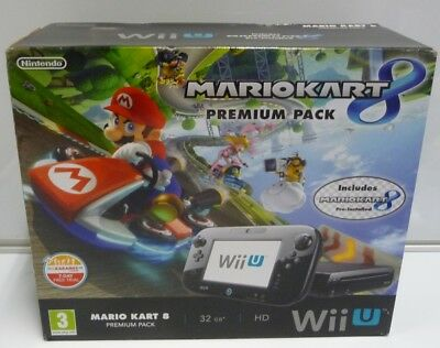 Console Nintendo Wii U Mario Kart 8 Premium Pack Black 32 Gb New Pal Uk Rare