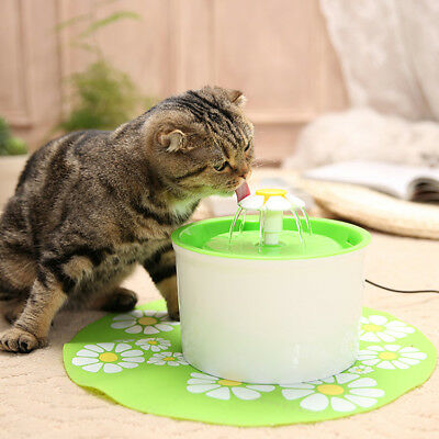Flower Automatic Electronic Pet Cat Dog Water Drinking Fountain Bowl Filter 1.8L