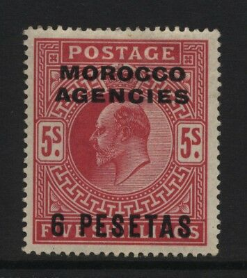 Morocco Agencies Spanish Currency 1907 KEVII 5s Red Surch 6 PESETAS MM