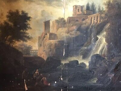 Huge French Old Master Oil Painting To Restore - The Falls At Tivoli - Signed