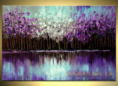LMOP216 abstract purple white flower 100% hand-painted OIL PAINTING CANVAS ART