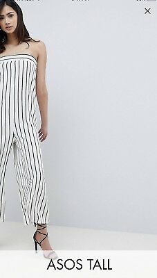 65858bb0b68 ASOS DESIGN Tall Pinstipe Minimal Bandeau Jumpsuit Size 18 NEW with Tags.