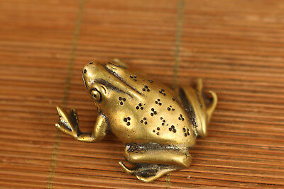 old bronze statue collectable hand carving Fortune frog figure home decoration