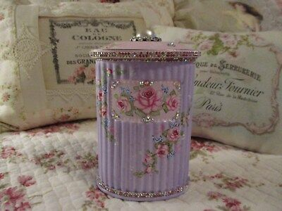 Shabby Chic Hand Painted Roses - Vintage Jeweled Glass Container and Lid